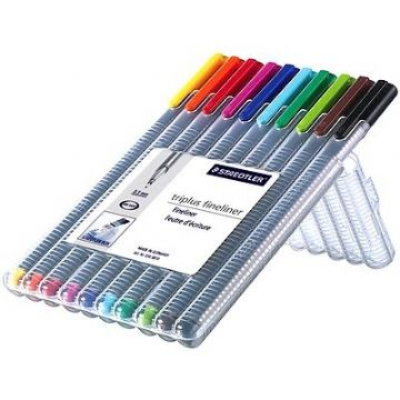 10 x STAEDTLER TRIPLUS FINELINER 334 ASSORTED COLOURS - DESKTOP BOX